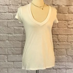 Standard James Perse white Vneck T-shirt, 1 or S